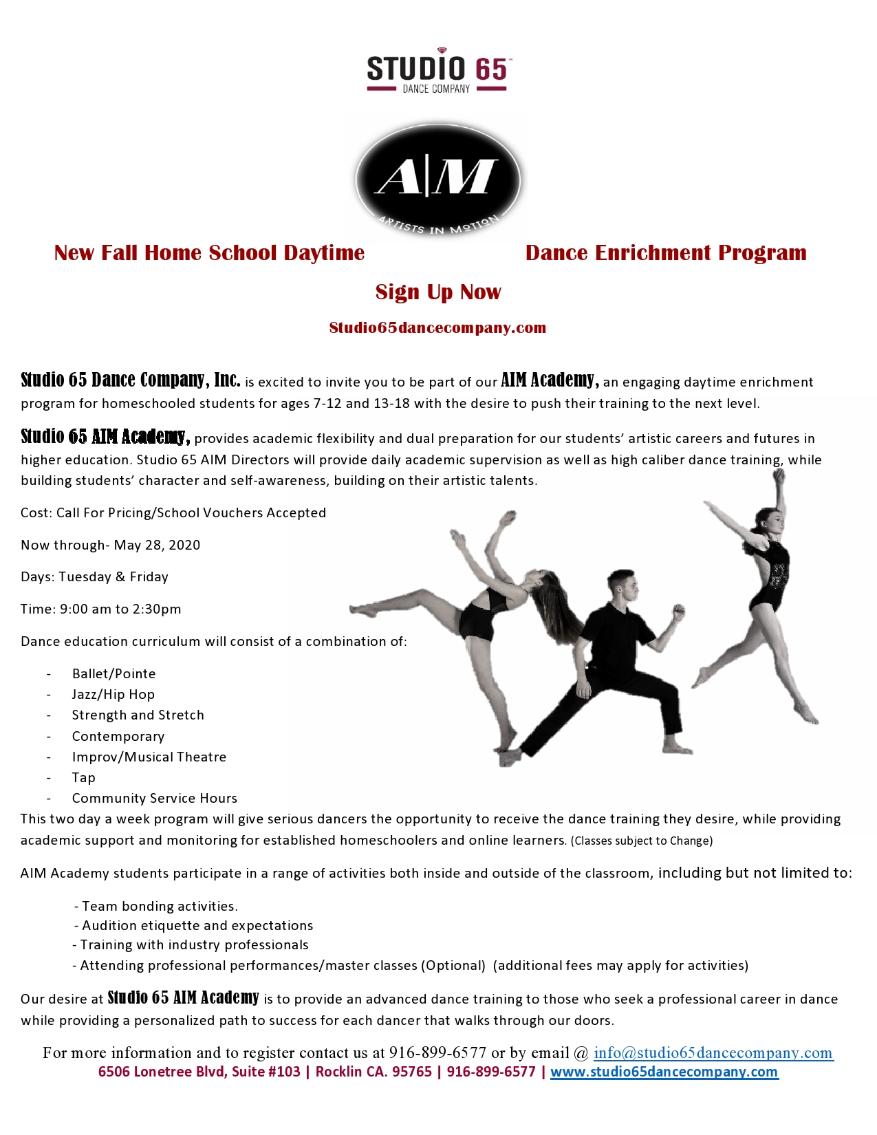 Studio 65 AIM Flyer
